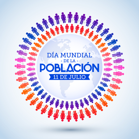 Dia Mundial de la Poblacion, World Population Day spanish text vector design