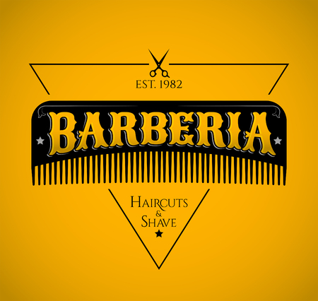 Barberia, Barbershop spanish text, vector emblem design with hair comb