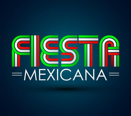 Fiesta Mexicana - Mexican party spanish text, vector design