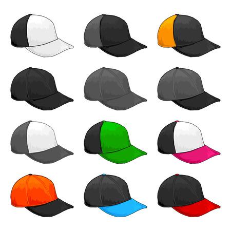 Black cap, Vector Variety of color combinations cap template