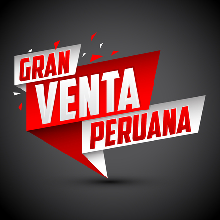 Gran venta Peruana - Peruvian big sale spanish text, vector modern colorful promotional banner