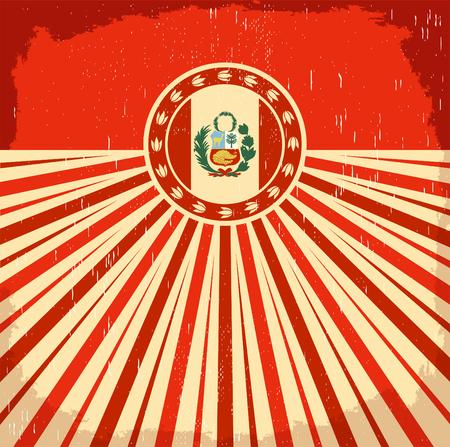 Perú vintage viejo cartel con bandera peruana colores - diseño de vectores, decoración de vacaciones Foto de archivo - 81944508