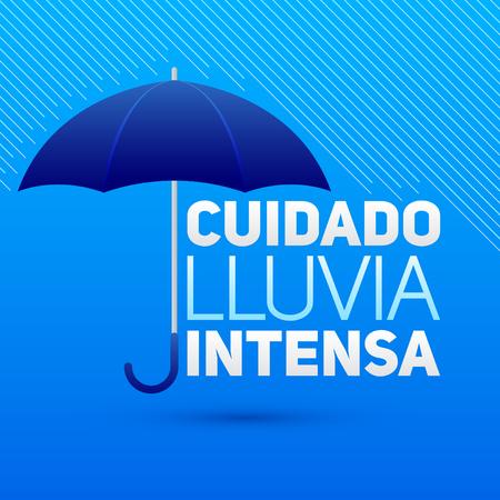 Cuidado lluvia intensa 注意大雨のスペイン語のテキストのベクトル記号をします。