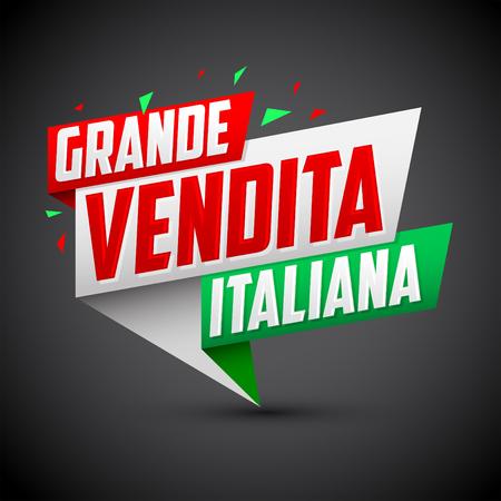 Grande vendita italiana - Italian big sale italian text, vector modern colorful banner Vettoriali