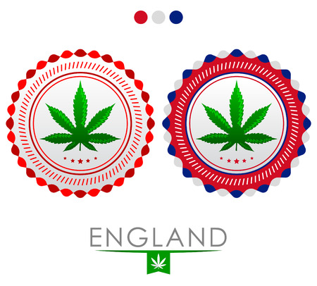 England marijuana emblem - vector cannabis seal of approval with the colors of the flag of England