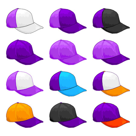 Purple cap, Vector Variety of color combinations cap template Illustration