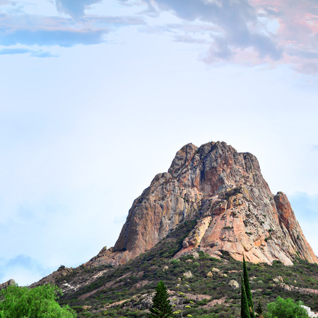 Pena de Bernal, is the largest monolith in Mexico located in Bernal Queretaro Stock Photo