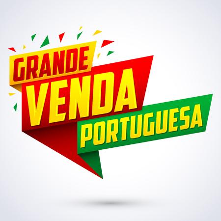 Grande venda Portuguesa - Portuguese big sale portuguese text, vector modern colorful banner