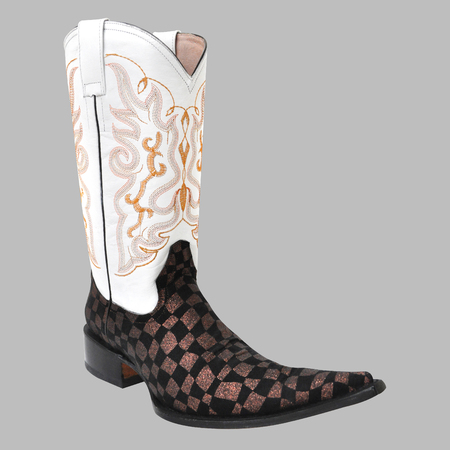 Pointy mexican cowboy boot isolated on gray background
