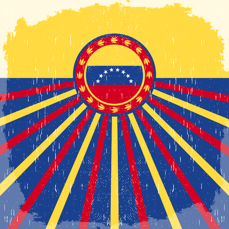 Venezuela vintage old poster with venezuelan flag colors - vector design, holiday decoration