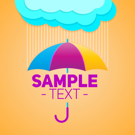 Umbrella with clouds and rain background, vector illustration Çizim