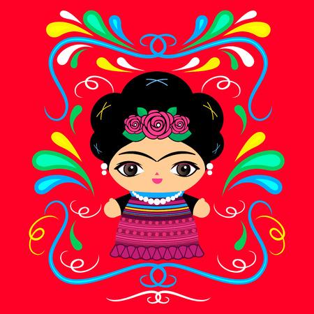 装飾的なデザインでメキシコの人形。  イラスト・ベクター素材