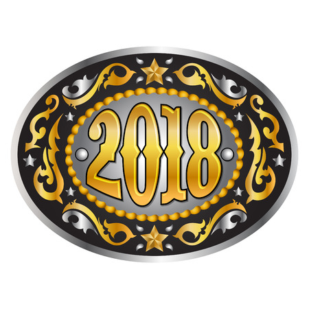 tack: 2018 year oval western cowboy belt buckle, vector illustration