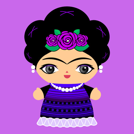Mexican Doll vector illustration, Mexico traditional style doll.