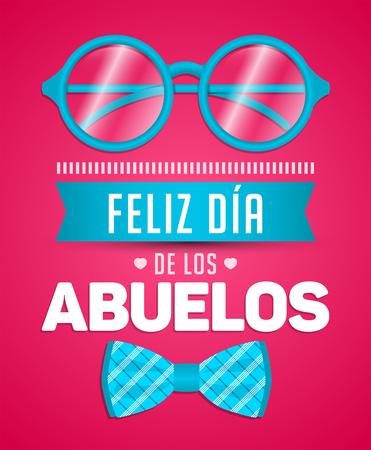 Feliz dia de los abuelos, glückliche Großeltern Tag spanischen Text, Vektor-Illustration mit Brille und Fliege Standard-Bild - 83888080