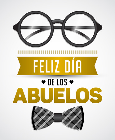 Feliz dia de los abuelos, Happy grandparents day spanish text, vector illustration with glasses and Bow tie 矢量图像