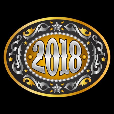 2018 年オーバル西部カウボーイ ベルト バックル、ベクトル イラスト  イラスト・ベクター素材