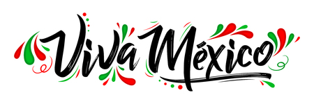 Viva Mexico, traditional mexican phrase holiday, lettering vector illustration 免版税图像 - 84135936