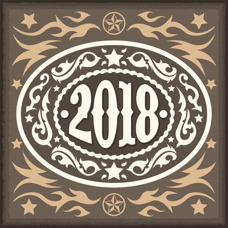 2018 year oval western cowboy belt buckle, vector illustration