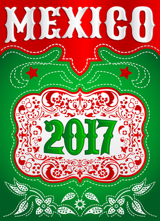 tack: 2017 Mexico western style poster - holiday mexican cowboy template Illustration