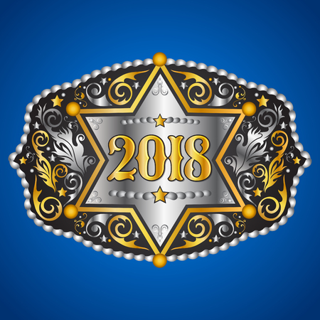 2018 year western cowboy belt buckle with sheriff badge vector design.