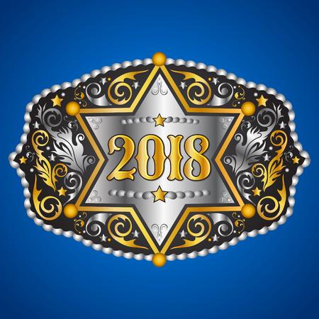 Cowboy-Gürtelschnalle des Jahrgangs 2018 mit Sheriff-Ausweisvektordesign. Standard-Bild - 84559237