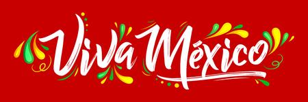 Viva Messico, festa tradizionale messicano, illustrazione vettoriale lettering Archivio Fotografico - 84669916