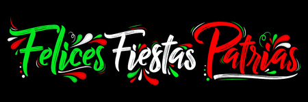 Felices Fiestas Patrias - Happy National Holidays spanish text, mexican theme patriotic celebration vector lettering
