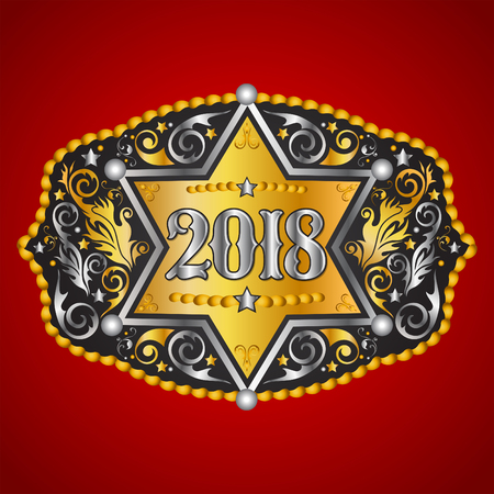 2018 year western cowboy belt buckle with sheriff badge vector design Illustration