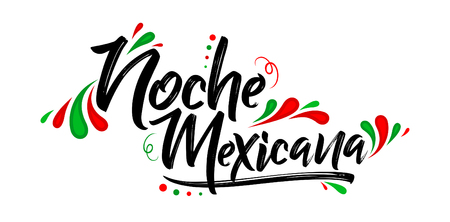 Noche mexicana, Mexican night spanish text, banner vector celebration Çizim
