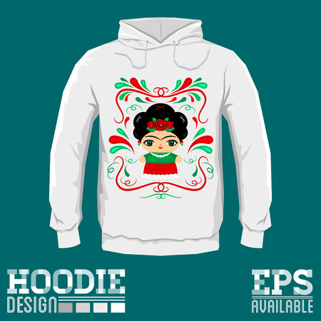 Mexican Doll with decorative ornaments hoodie print design template, vector illustration