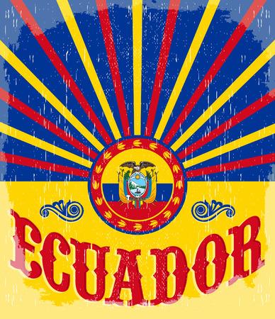 Ecuador vintage old poster with ecuadorian flag colors - vector design, holiday decoration