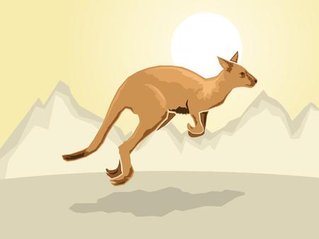 kangaroo on a stylized mountain background, Vector illustration