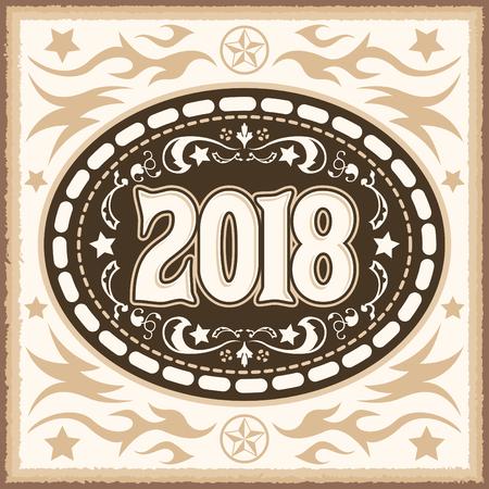 2018 vaquero occidental cinturón hebilla ilustración vectorial Ilustración de vector