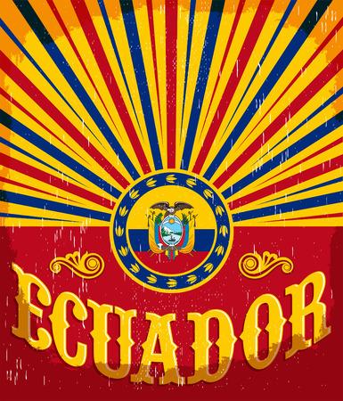 에콰도르 에콰도르 플래그 색 - 벡터 디자인, 휴일 장식 빈티지 오래 된 포스터 일러스트