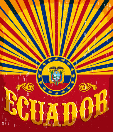 Ecuador vintage old poster with ecuadorian flag colors - vector design, holiday decoration