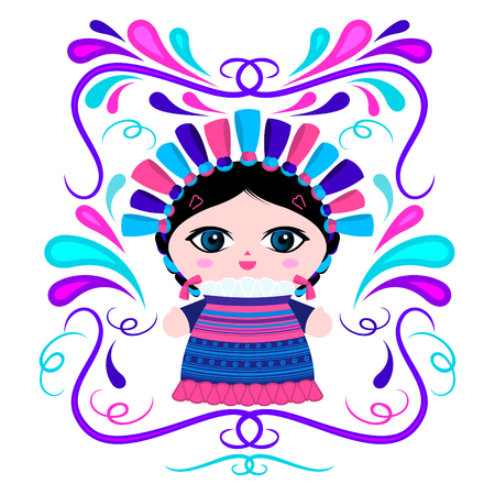 Mexican Doll with decorative ornaments vector illustration Vettoriali