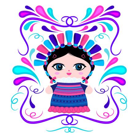 Muñeca mexicana con adornos decorativos ilustración vectorial
