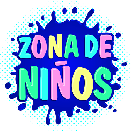 Zona de ninos, kids zone spanish text, vector lettering illustration.