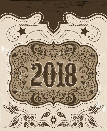 2018 洋風休日のデザイン、カウボーイ ベルト バックル, 背景、イベント ポスター  イラスト・ベクター素材