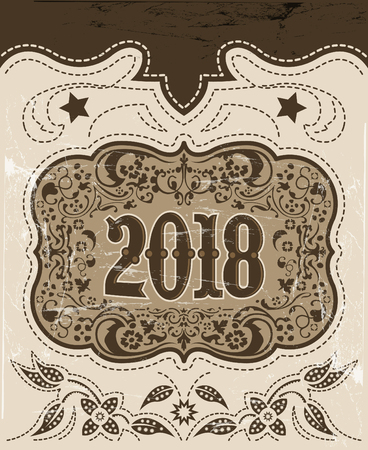 2018 western style holidays design, cowboy belt buckle with background, event poster