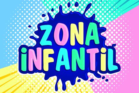 Zona infantil, children zone spanish text, vector sign illustration.