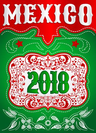 2018 メキシコ西部様式休日デザイン、背景、イベント ポスター カウボーイ ベルト バックル