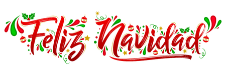 Feliz Navidad, Merry Christmas spanish text holiday, lettering vector illustration