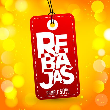 Rebajas - Discounts spanish text, sales vector colorful label tag design Ilustração Vetorial