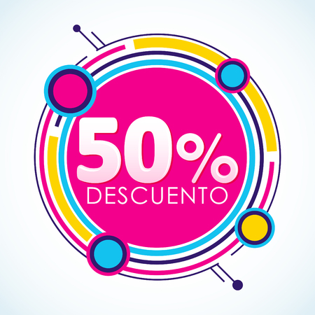 50% Descuento, 50% Discount Sticker Spanish text, sale tag. Offer price label, vector illustration.