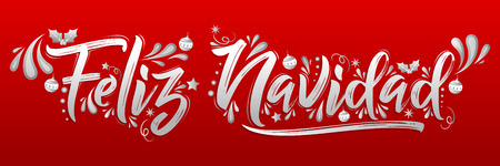 Feliz Navidad, Merry Christmas spanish text holiday lettering vector illustration