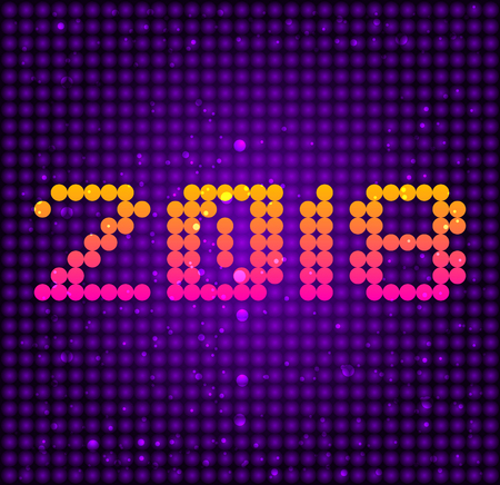 2018 led typographic design, Dotted vector illustration