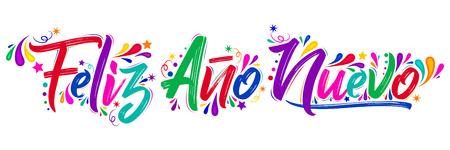 Feliz ano nuevo, Happy new year spanish text holiday lettering vector illustration