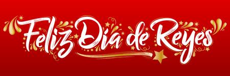 Feliz dia de reyes Sticker Spaanse tekst, de vectorillustratie van de verkoopmarkering